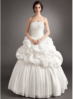 Ball-Gown Sweetheart Floor-Length Taffeta Wedding Dress With Ruffle Beading