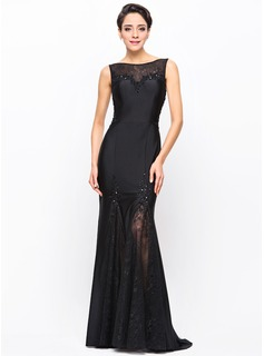 Trumpet/Mermaid Scoop Neck Sweep Train Lace Jersey Evening Dress With Beading Sequins