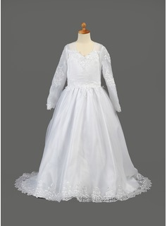 A-Line/Princess V-neck Sweep Train Organza Flower Girl Dress With Embroidered