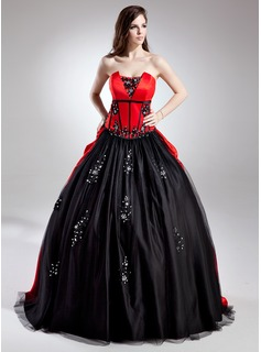 Ball-Gown Scalloped Neck Sweep Train Tulle Charmeuse Quinceanera Dress With Lace Beading Sequins
