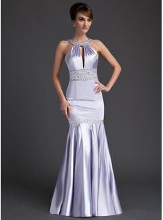 Mermaid Scoop Neck Sweep Train Charmeuse Evening Dress With Ruffle Beading Sequins