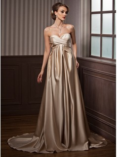 Empire Sweetheart Court Train Satin Wedding Dress With Ruffle