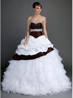 Ball-Gown Sweetheart Sweep Train Taffeta Organza Wedding Dress With Lace Beading Cascading Ruffles (002015724)