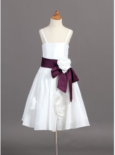 A-Line/Princess Tea-Length Taffeta Flower Girl Dress With Sash Flower(s)