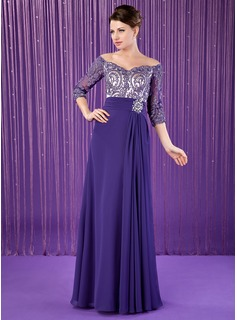A-Line/Princess Off-the-Shoulder Floor-Length Chiffon Charmeuse Mother of the Bride Dress With Ruffle Lace Beading