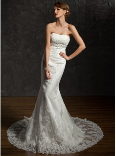 Mermaid Sweetheart Chapel Train Satin Lace Wedding Dress With Sashes Beadwork Sequins (002004783)