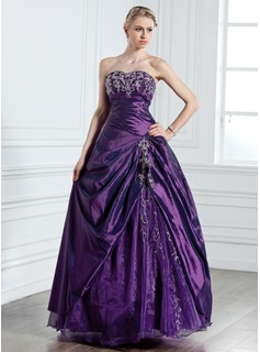 Ball-Gown Sweetheart Floor-Length Taffeta Organza Quinceanera Dress With Embroidered Beading