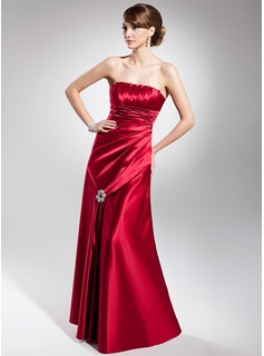 A-Line/Princess Strapless Floor-Length Charmeuse Evening Dress With Ruffle Beading (017014684)