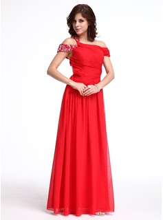 A-Line/Princess Off-the-Shoulder Floor-Length Chiffon Evening Dress With Ruffle Beading (017026232)