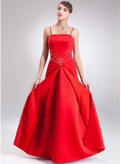 Sheath Floor-Length Satin Holiday Dress With Beading
