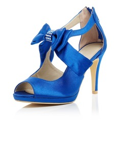 Women's Satin Stiletto Heel Peep Toe Pumps Sandals With Bowknot