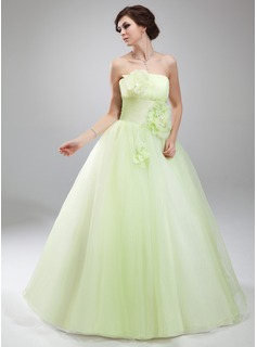 Ball-Gown Strapless Floor-Length Organza Quinceanera Dress With Ruffle Flower(s) (021018811)