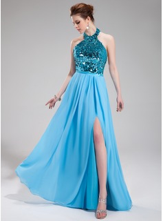 A-Line/Princess Halter Floor-Length Chiffon Sequined Evening Dress