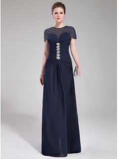 A-Line/Princess Scoop Neck Sweep Train Chiffon Evening Dress With Ruffle Beading