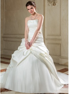Ball-Gown Strapless Chapel Train Satin Tulle Wedding Dress With Ruffle Flower