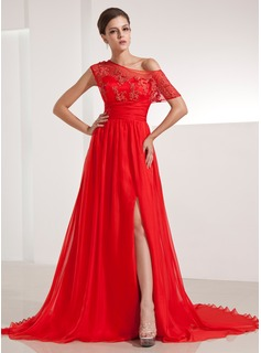 A-Line/Princess Off-the-Shoulder Chapel Train Chiffon Evening Dress With Ruffle Lace