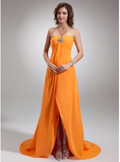 Empire Sweetheart Asymmetrical Chiffon Prom Dress With Ruffle Beading (018002654)