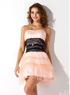 A-Line/Princess Sweetheart Short/Mini Tulle Homecoming Dress With Ruffle Lace Sash Beading (022020876)