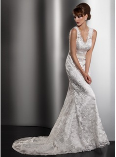 Sheath/Column V-neck Court Train Charmeuse Lace Wedding Dress With Sashes (002013766)