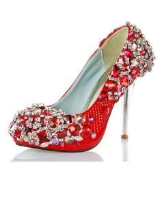 Women's Satin Cone Heel Closed Toe Platform Pumps With Rhinestone Crystal Heel (047033921)