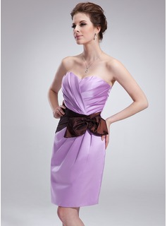 Sheath/Column Sweetheart Knee-Length Satin Cocktail Dress With Ruffle Sash
