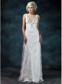 Sheath/Column V-neck Watteau Train Chiffon Charmeuse Lace Wedding Dress With Ruffle Beadwork
