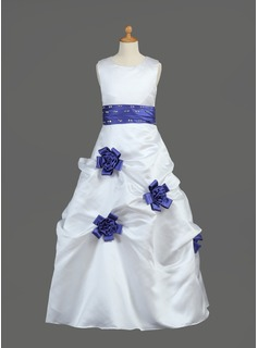 A-Line/Princess Scoop Neck Floor-Length Satin Flower Girl Dress With Sash Beading Flower(s) Sequins (010002149)