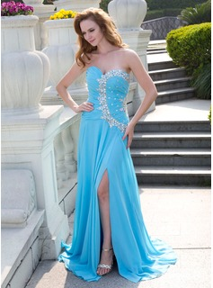 A-Line/Princess Sweetheart Sweep Train Chiffon Prom Dress With Ruffle Beading (018024651)