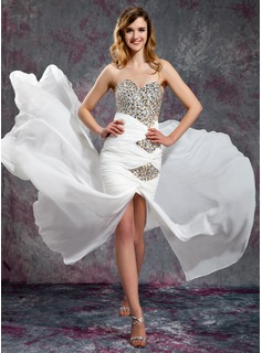 Sheath Sweetheart Court Train Chiffon Prom Dress With Ruffle Beading Sequins (018019139)