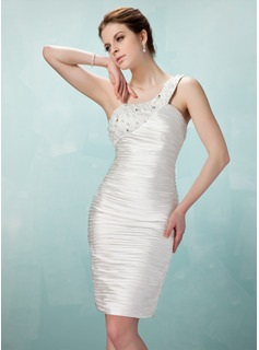 Sheath One-Shoulder Knee-Length Charmeuse Cocktail Dress With Ruffle Beading