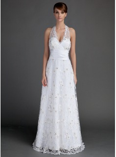 A-Line/Princess Halter Floor-Length Satin Lace Wedding Dress With Ruffle Beadwork (002015721)