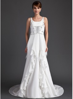 A-Line/Princess Scoop Neck Court Train Chiffon Wedding Dress With Beadwork
