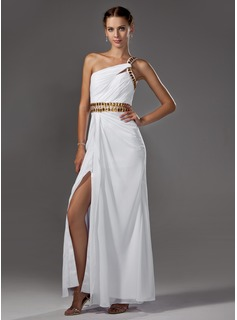 A-Line/Princess One-Shoulder Floor-Length Chiffon Prom Dress With Ruffle Beading (018002453)