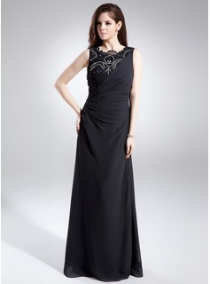 Sheath/Column Scoop Neck Floor-Length Chiffon Mother of the Bride Dress With Lace Beading Sequins