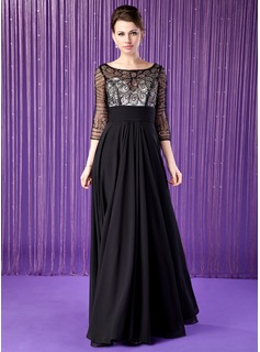 A-Line/Princess Scoop Neck Floor-Length Chiffon Tulle Mother of the Bride Dress With Lace Beading Sequins