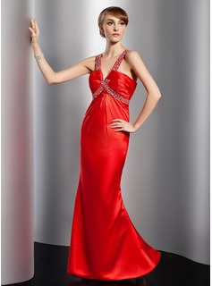 Sheath V-neck Floor-Length Satin Evening Dress With Ruffle Beading