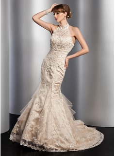 Mermaid High Neck Court Train Satin Tulle Wedding Dress With Lace Beadwork Sequins (002012763)