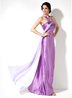 Sheath Halter Floor-Length Chiffon Charmeuse Holiday Dress With Ruffle Beading