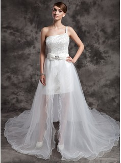 A-Line/Princess One-Shoulder Asymmetrical Satin Tulle Wedding Dress With Beading Sequins Bow(s)