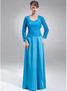 A-Line/Princess V-neck Floor-Length Charmeuse Lace Mother of the Bride Dress With Beading Sequins