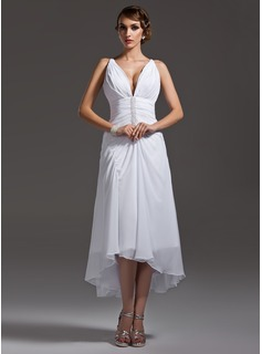 A-Line/Princess V-neck Asymmetrical Chiffon Wedding Dress With Ruffle Beadwork (002004593)