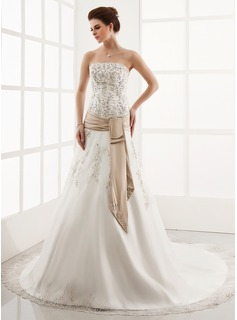 A-Line/Princess Strapless Cathedral Train Organza Satin Wedding Dress With Embroidery Lace Sashes