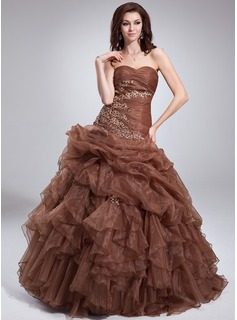 Ball-Gown Sweetheart Floor-Length Organza Quinceanera Dress With Lace Beading Cascading Ruffles
