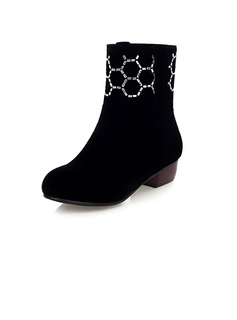 Suede Low Heel Ankle Boots With Rhinestone shoes