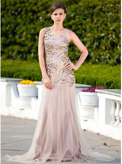 A-Line/Princess Scoop Neck Court Train Tulle Charmeuse Prom Dress With Ruffle Beading