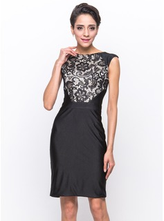 Sheath/Column Scoop Neck Knee-Length Charmeuse Lace Jersey Cocktail Dress