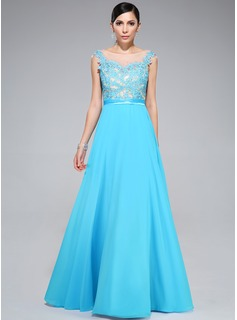 A-Line/Princess Scoop Neck Floor-Length Chiffon Tulle Charmeuse Prom Dress With Lace Beading
