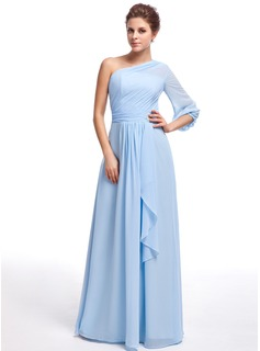 A-Line/Princess One-Shoulder Floor-Length Chiffon Bridesmaid Dress With Crystal Brooch Cascading Ruffles