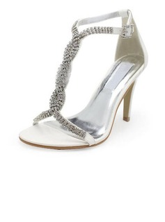 Leatherette Stiletto Heel Pumps Sandals Wedding Shoes With Buckle Rhinestone (047005860)