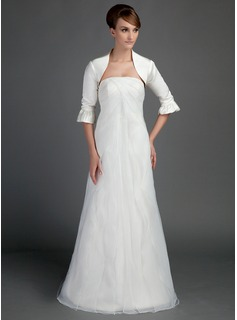 A-Line/Princess Strapless Sweep Train Organza Satin Wedding Dress With Ruffle